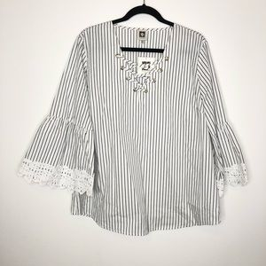 Anne Klein Bell Sleeve Top XL Lace Striped NWT